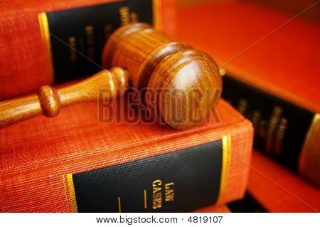 Law Book Pile And Gavel