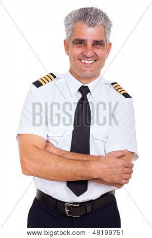 portrait of handsome senior airline captain with arms crossed isolated on white background
