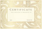 Certificate of completion (template or sample background) with golden floral pattern (swirl, scroll shape), border, frame. Gold Design for diploma, invitation, gift voucher, ticket, awards. Also useful for: Degree certificate, Business Education (Courses) poster