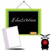 Abstract colorful illustration with a school blackboard on which is written the word education poster