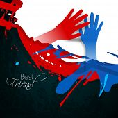 Happy friendship day concept with human hands on grungy colorful background. poster