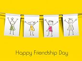 Happy friendship day concept on yellow background. poster
