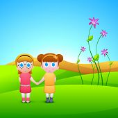 Happy Friendship Day background with cute little girls on abstract nature background. poster