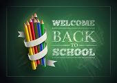 Welcome back to school. Vector illustration.  Elements are layered separately in vector file. Easy editable. poster