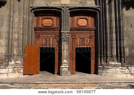 Doors And Porch Of Chambery's Cathedral