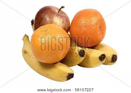 Isolated Apple Bananas And Oranges On White