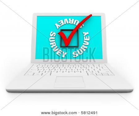 Survey Checkbox And Mark On A White Laptop