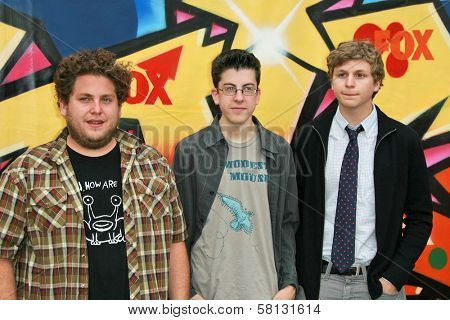 Jonah Hill with Christopher Mintz-Plasse and Michael Cera at the 2007 Teen Choice Awards. Gibson Amphitheater, Universal City, CA. 08-26-07