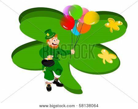 leprechaun balloons clover background