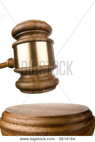 Gavel And Block Isolated On White