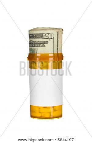 Pill Bottle And Cash