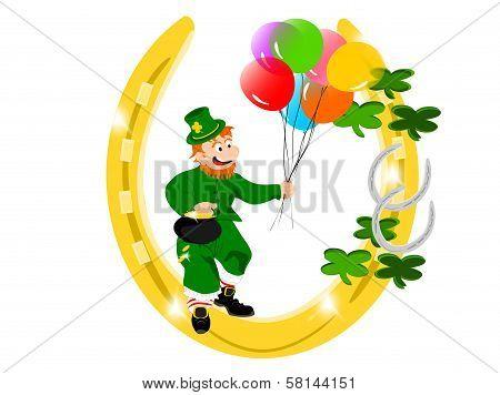 leprechaun balloons gold horseshoe