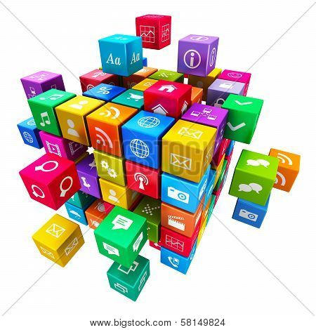 Colorful metallic cube with cloud of color application icons isolated on white background poster