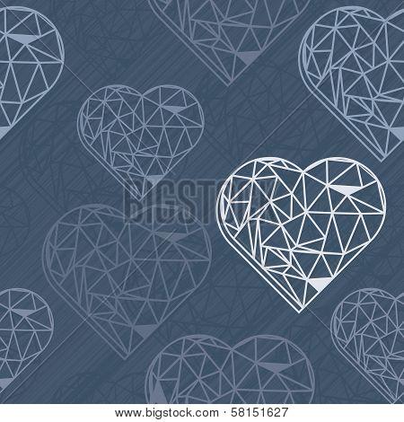 blue crystal diamond messy border hearts on dark