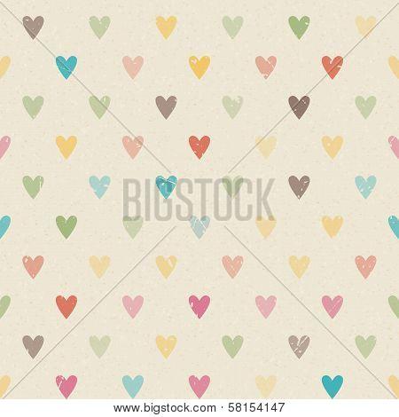 Valentine Colorful Retro Seamless Hearts Pattern