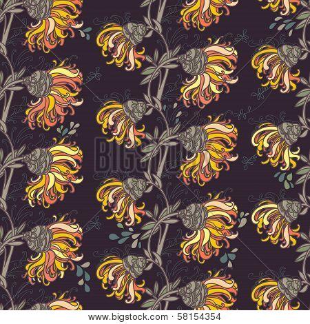 floral seamless chryzantemum pattern, vector design