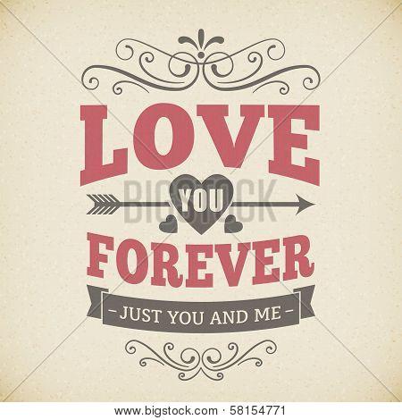 Wedding Typography Love You Forever Vintage Card Background Design