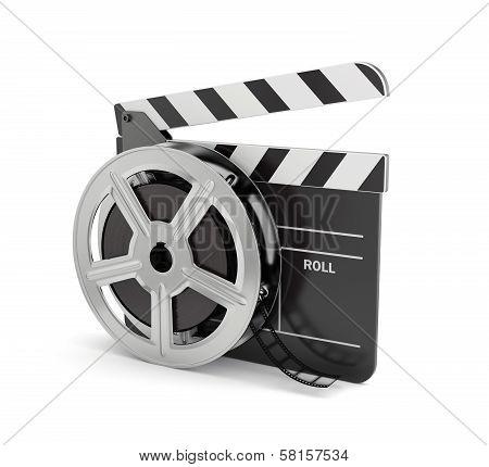 Clapper Board With Film Reel