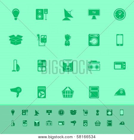 Home Related Color Icons On Green Background