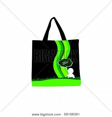 Green Purse With People Icon Color Vector