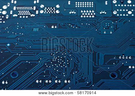 Laptop Motherboard Dark Blue Background