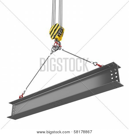 Crane hook lifting of steel beam. Isolated on white background poster