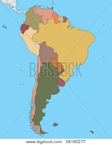Colorful map of South America