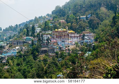 Darjeeling Town from the Top of Mountain, India