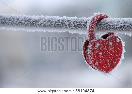 Frozen Heart-shaped Lock As A Love Symbol