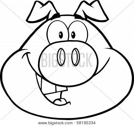 Black And White Happy Pig Head Cartoon Mascot Character