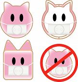 4 pig faces with swine flu influenza h1n1 poster