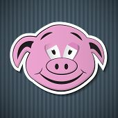 Paper Pink Pig Head on Blue Cardboard poster