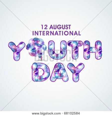 Stylish colorful text Youth Day on grey background for International Youth Day.