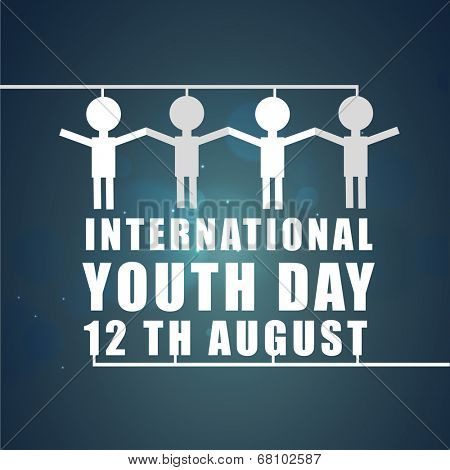 White symbol of peoples with joining hands on international youth day 12th august on shiny blue background.