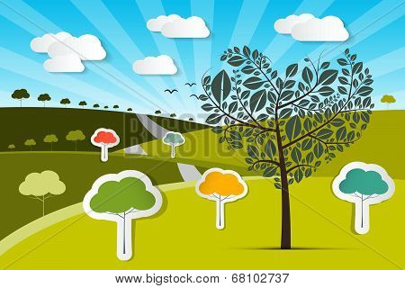 Vector Abstract Paper Landscape Nature Illustration with Heart Shaped Tree