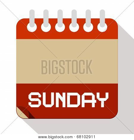 Sunday Vector Paper Calendar Illustration