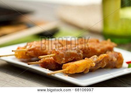 Satay Chicken On Skewers Al Fresco
