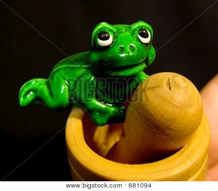 Frog On Wooden Jar_B