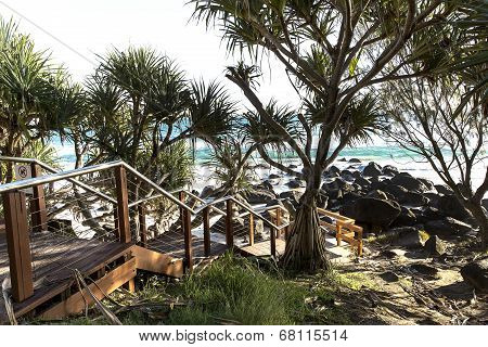 Greenmount stairs to Coolangatta beach and rocks