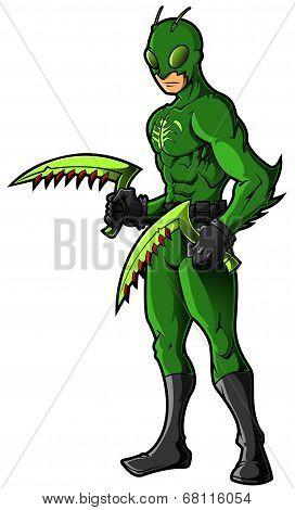 Green Insect Superhero or Villian