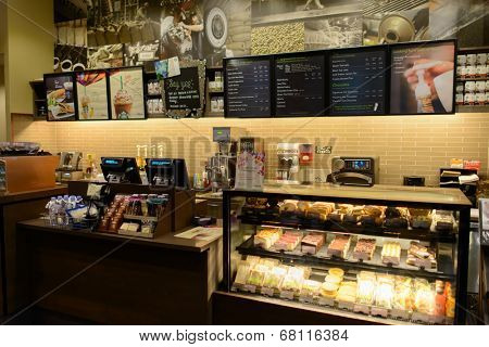 KUALA LUMPUR, MALAYSIA-MAY 06: Starbucks Cafe interior on May 06, 2014 in Kuala Lumpur, Malaysia. Starbucks Corporation is an American global coffee company and coffeehouse chain based in Seattle.