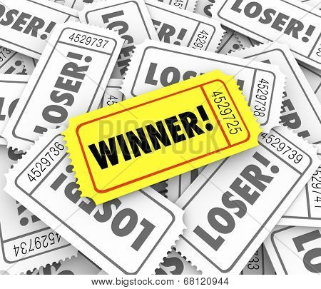Winner word on a golden or yellow ticket pile Loser tickets  lucky drawn winning entry