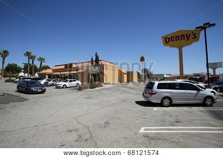 BARSTOW, CALIFORNIA - SUN. JUNE 29, 2014: A general exterior view of a Denny's restaurant in Barstow, California, on Sunday, June 29, 2014.