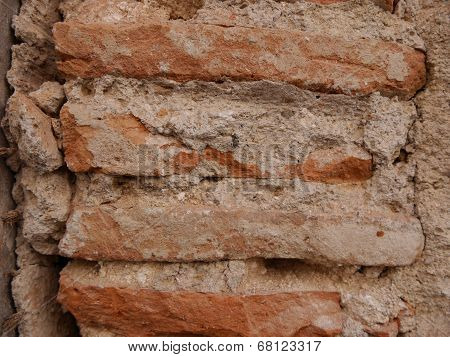 Close up of rough brick wall as background