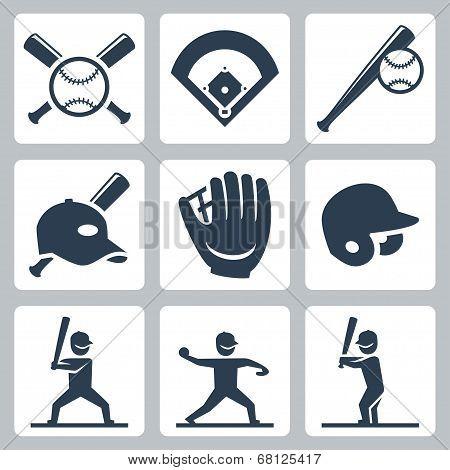 Baseball Related Vector Icons Set