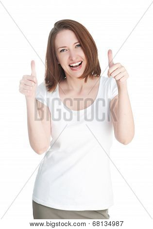 Girl In A White T-shirt Shows Thumb Up Isolated On White Background