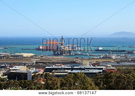 Semi Submersible Drilling Rig And Drill Ship In The Shipyard In Town