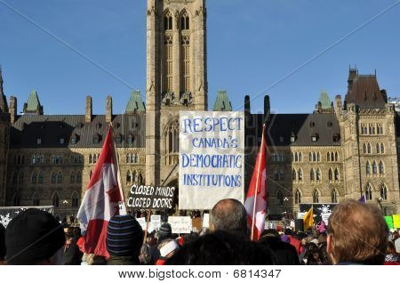 PProtest of Harper's proroguing of Parliament, Ottawa, Jan 23, 2010