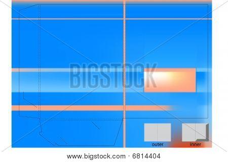 Blue corporate folder with die cut.