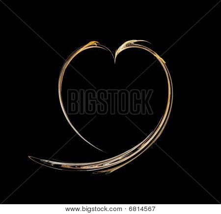 Abstract Heart Of Gold Colour On A Black Background